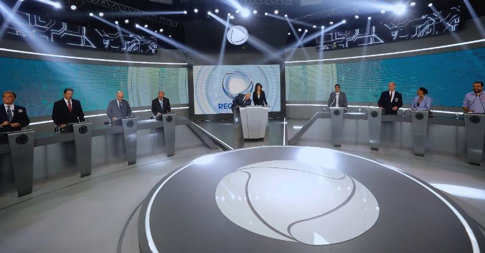 30.set.2018 - Penúltimo debate do primeiro turno das eleições entre os candidatos à presidência da república na RecordTV, neste domingo(30)