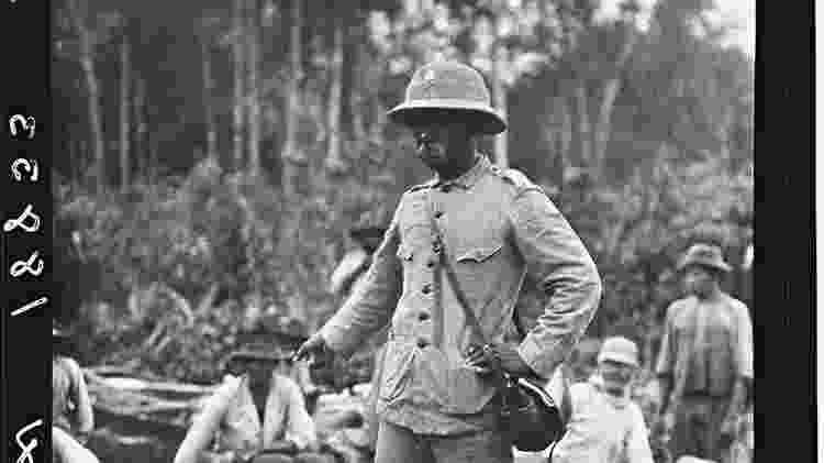 Rondon durante expedição científica com Roosevelt, em 1914, uma de suas muitas pela Amazônia - Divulgação