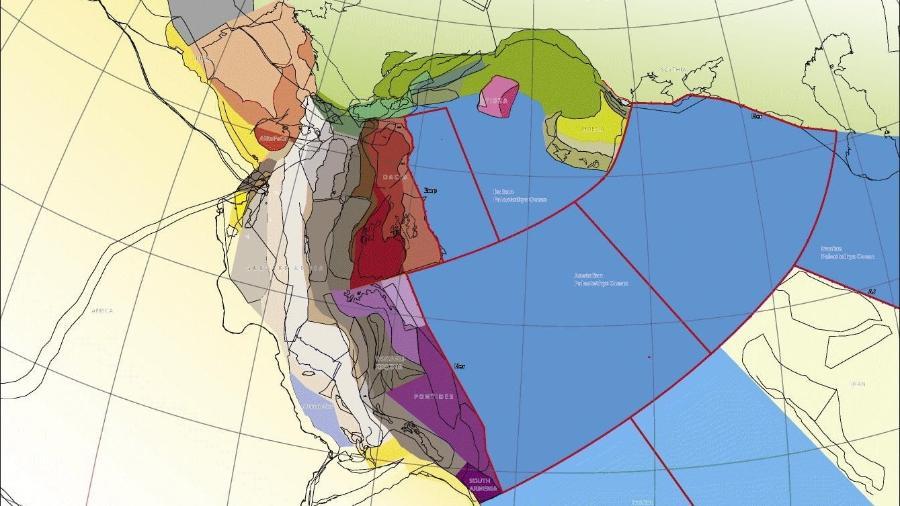 Representação gráfica criada para o estudo sobre o continente Grande Adria - Divulgação