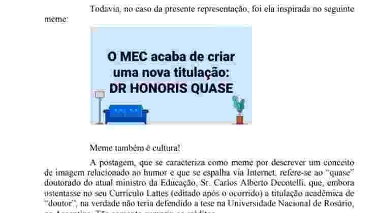 Subprocurador Lucas Rocha Furtado diz que sua representação sobre nomeação de Decotelli para o MEC foi inspirada em um meme - Reprodução - Reprodução
