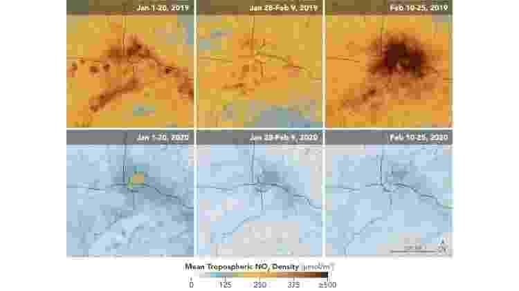 Níveis de dióxido de nitrogênio permaneceram muito mais baixos em Wuha - Divulgação/Observatório da Terra da Nasa - Divulgação/Observatório da Terra da Nasa