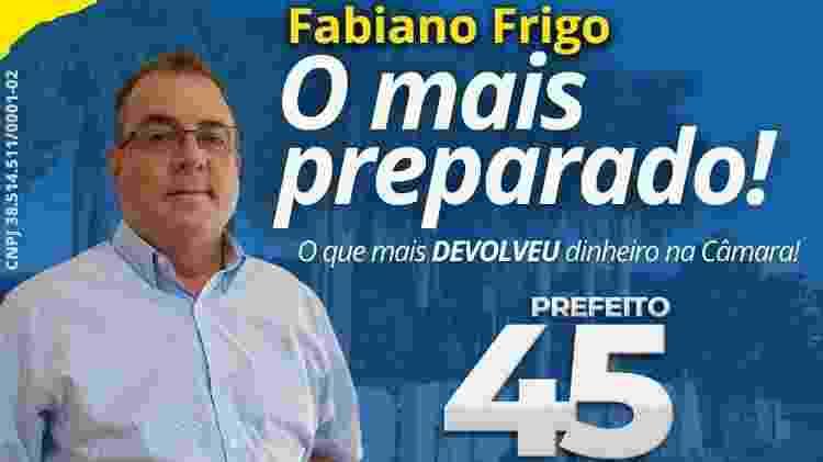 Material de campanha de Fabiano Frigo, candidato a prefeito de Tapiratiba em 2020 - Divulgação - Divulgação