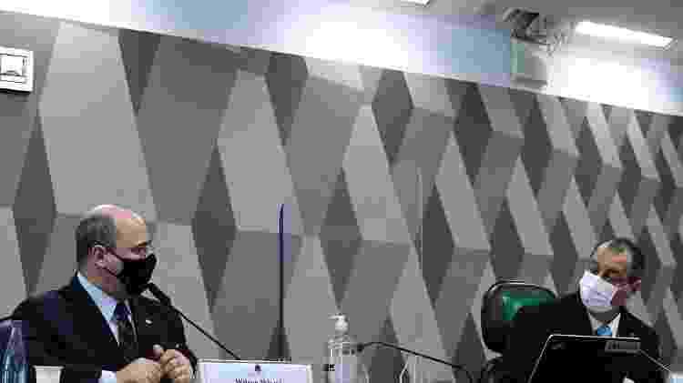 O ex-governador do Rio Wilson Witzel e o presidente da CPI da Covid, senador Omar Aziz - Edilson Rodrigues/Agência Senado  - Edilson Rodrigues/Agência Senado