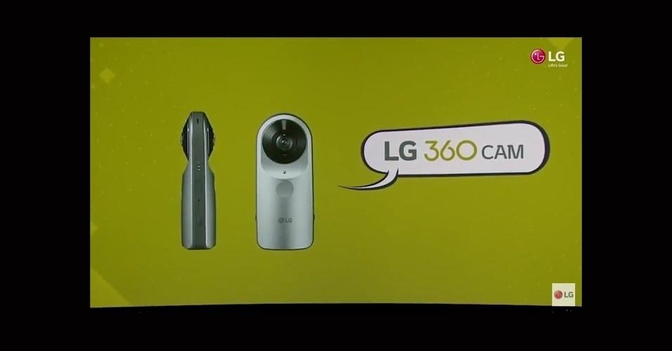 21.fev.2016 - A LG  também apresentou uma câmera externa --chamada de LG 360 Cam-- que captura imagens em 360 graus em foto ou vídeo, que podem ser subidas para o Google Street View ou para o YouTube