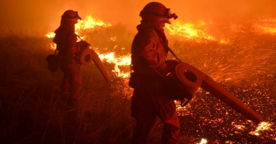 20.mai.2016 - Bombeiros utilizam equipamento para soprar folhas e fagulhas na tentativa de controlar um incêndio florestal no parque de Hulun Buir, no norte da China