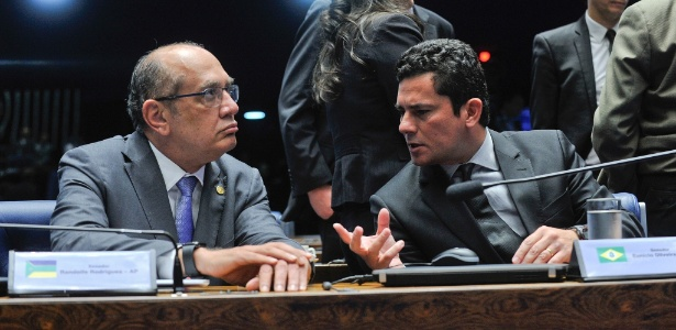 """Gilmar (esq.) não vê """"nenhum problema"""" em Moro (dir.) encontrar-se com Lula"""