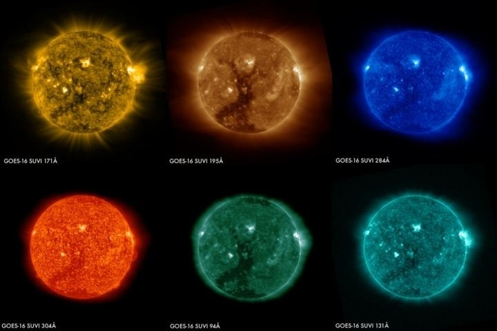 2.mar.2017 - BURACO COLORIDO - Seis diferentes câmeras a bordo do satélite meteorológico GOES-16, da NOAA (agência de previsão atmosféria dos EUA), mostram um grande buraco coronal no hemisfério sul do Sol. Cada câmera fotografa o Sol em um diferente comprimento de onda, permitindo que os cientistas detectem uma grande gama de fenômenos solares importantes para a previsão do clima espacial. Os buracos coronais são áreas onde a coroa solar é mais escura, mais fria e possui uma densidade mais baixa de plasma. Os fluxos de plasma de alta velocidade abertos ao espaço interplanetário nesses buracos podem afetar satélites artificiais da Terra