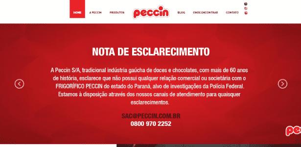 Comunicado da Peccin S/A publicado no site da fabricante de chocolates - Reprodução