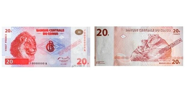 Congo (antigo Zaire): A cédula de 20 francos do Congo de 1997 tem a cabeça de um leão de um lado e uma leoa com dois filhotes do outro