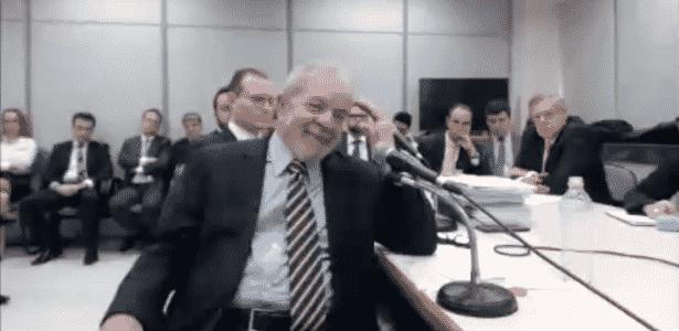 O ex-presidente Lula durante depoimento ao juiz Sergio Moro, em Curitiba - Reprodução