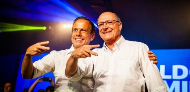 Doria e Alckmin durante a convenção estadual do PSDB, em em julho