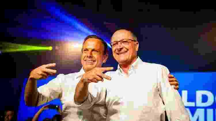 Doria e Alckmin nesse sábado (28), em São Paulo, durante a convenção estadual do PSDB - Divulgação - Divulgação