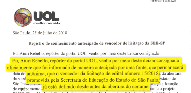 O UOL registrou em cartório, 12 dias antes, quem seria o vencedor da licitação - Arte/UOL