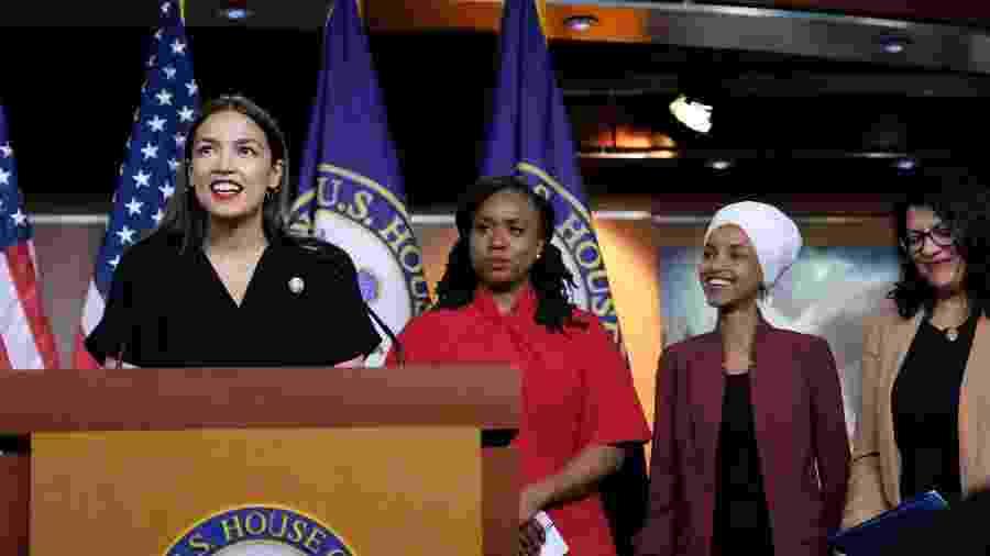 As congressistas democratas Alexandria Ocasio-Cortez, Ayanna Pressley, Ilhan Omar e Rashida Tlaib - Alex Wroblewski/Getty Images/AFP