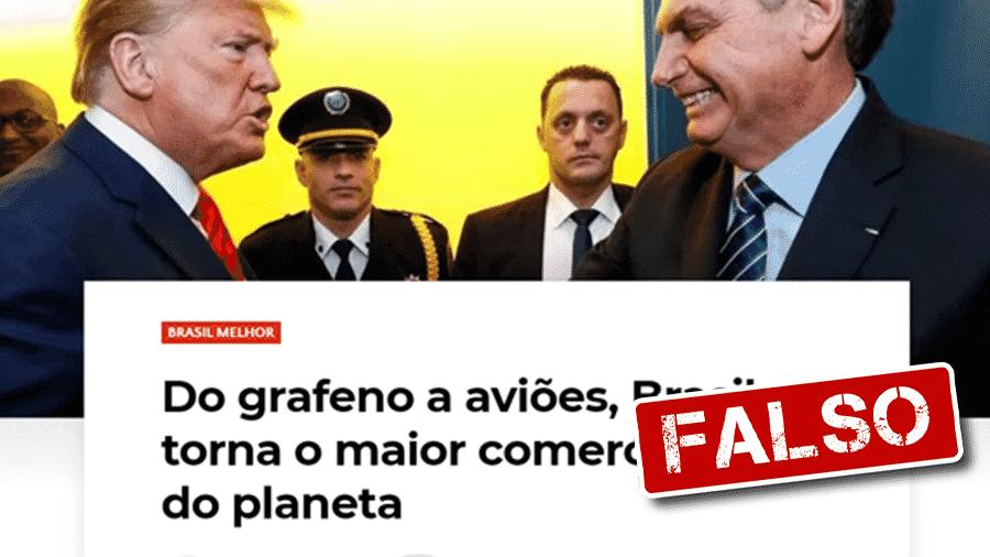 """21.nov.2019 - Texto em site traz informação falsa de que Brasil é o maior """"comerciante"""" do mundo - Arte/UOL"""