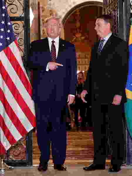 Presidente dos Estados Unidos, Donald Trump, e presidente Jair Bolsonaro no resort de Mar-a-Lago, em Palm Beach, na Flórida - TOM BRENNER