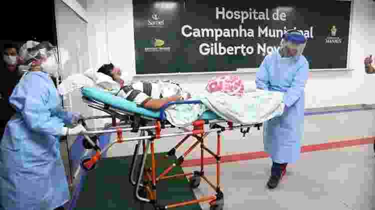 14.abril.2020 - Pacientes começam a dar entrada no primeiro hospital de campanha de Manaus - Mário Oliveira/Semcom - Mário Oliveira/Semcom