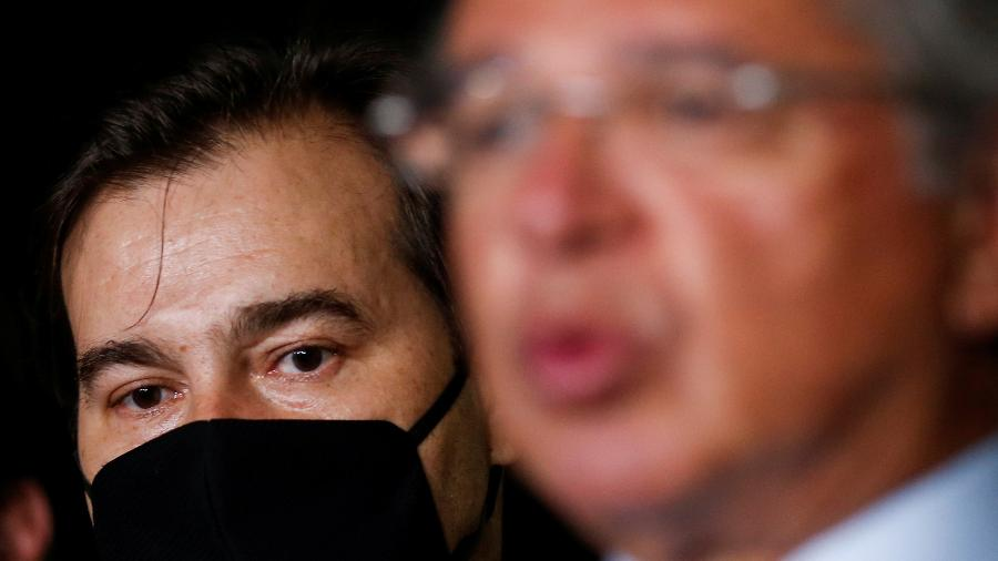 Presidente da Câmara, Rodrigo Maia, e ministro da Economia, Paulo Guedes - ADRIANO MACHADO