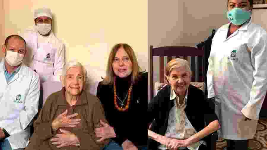 As irmãs Dirce Bastos Hass (de blusa marrom), 100 anos, e Myrthes Bastos (de casaco preto e camisa clara), 96, contraíram covid-19 ao mesmo tempo, mas se recuperaram - Divulgação/Prefeitura de Corumbá