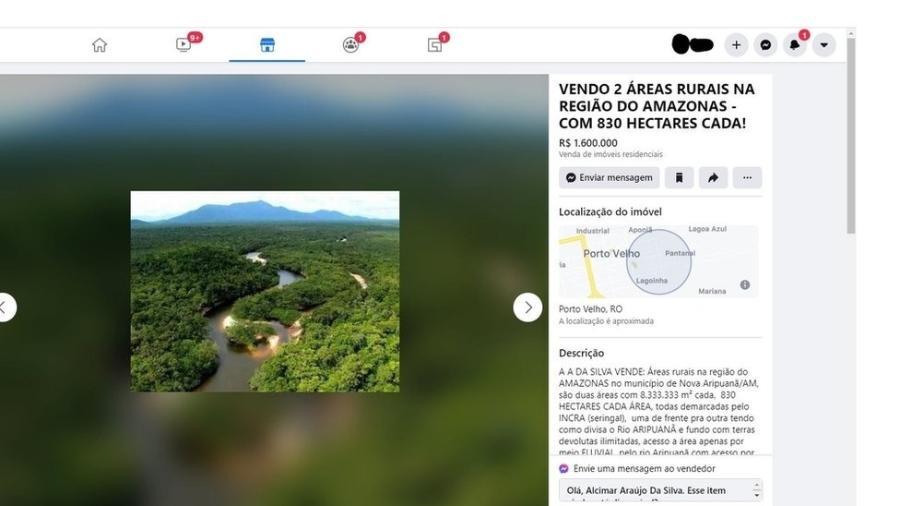Anúncio oferece áreas de mata dentro da Floresta Nacional do Aripuanã, no Amazonas - BBC