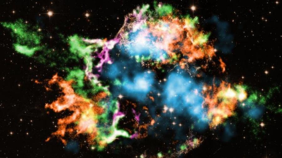 Supernova Cassiopeia A está localizada a cerca de 11 mil anos-luz de distância da Terra  - T.Sato et.al/Nasa