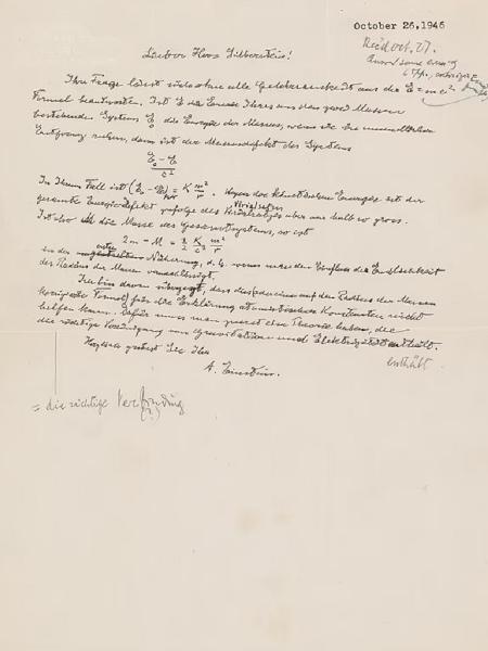 Carta de Albert Einstein será leiloada - Reprodução/RR Auction