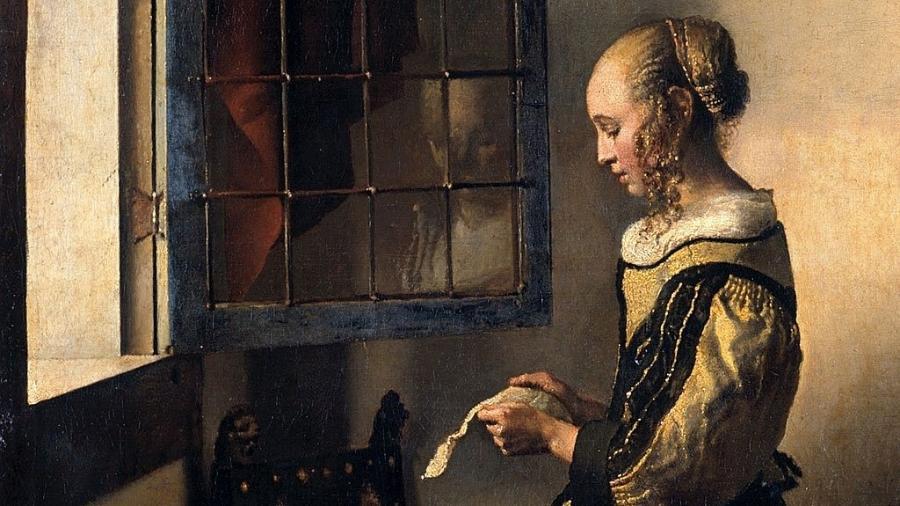 """Detalhe do quadro """"Moça lendo uma carta à janela"""", de Johannes Vermeer, 1657-59 - BBC"""