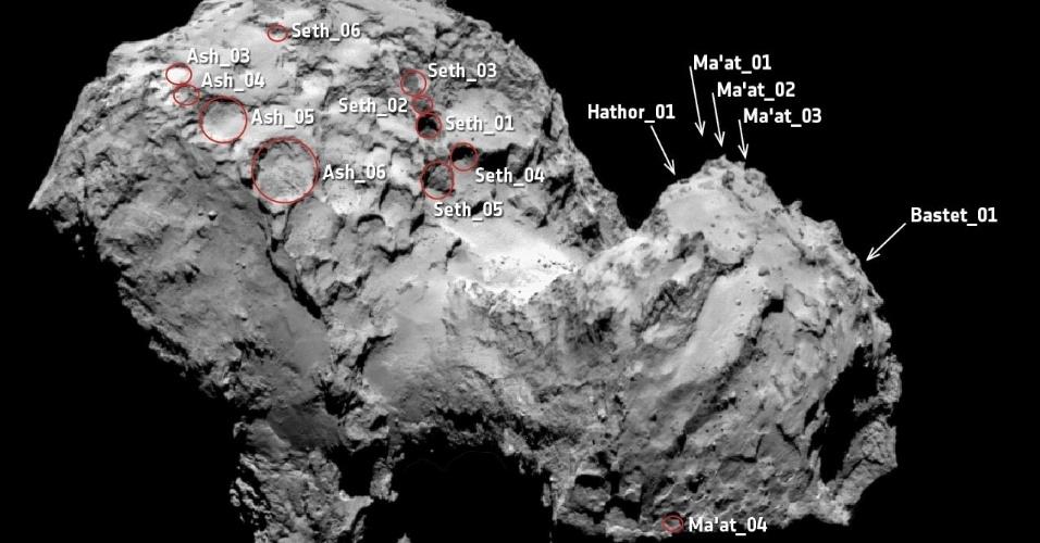 1º.jul.2015 - Crateras foram registradas na superfície do hemisfério norte do cometa 67P/Churyumov-Gerasimenko pela sonda Rosetta, em imagem divulgada nesta quarta-feira (1º). O cometa que está sendo estudado pela Rosetta tem buracos enormes em sua superfície, grandes o suficiente para engolir a pirâmide de Gizé, do Egito, segundo a pesquisa publicada na quarta-feira
