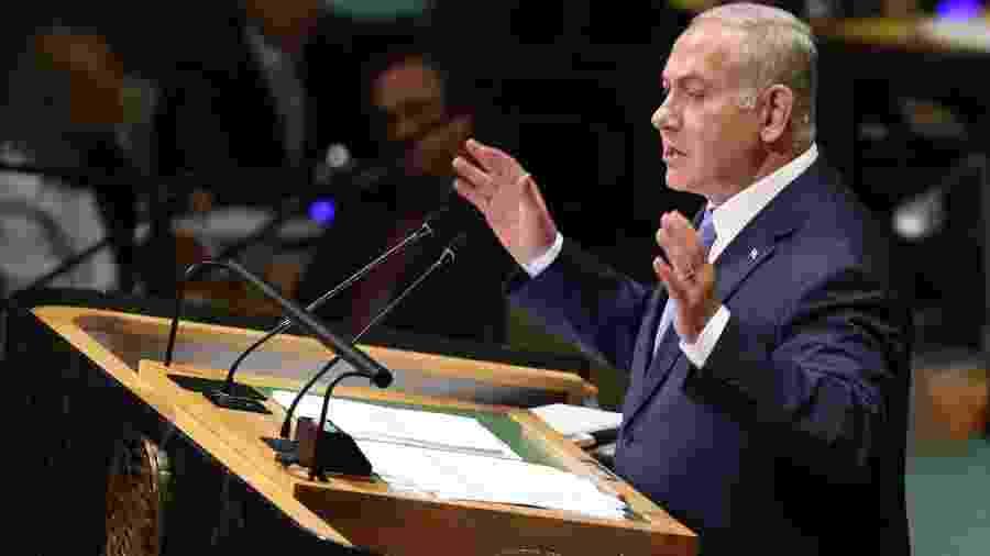 O primeiro-ministro de Israel, Benjamin Netanyahu, discursa na 73ª Assembleia Geral das Nações Unidas, em Nova York - Chang W. Lee/The New York Times