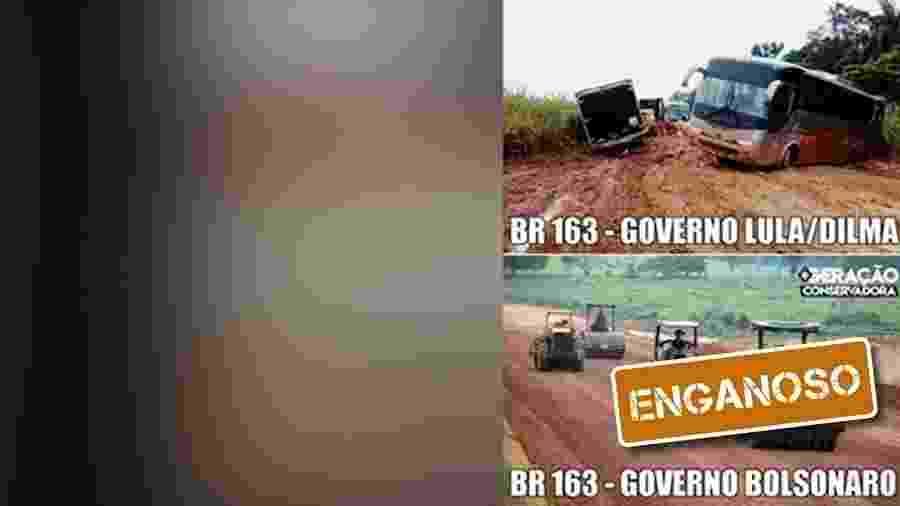 27.jul.2019 - Foto de obra na BR-163 usada em montagem enganosa como sendo do governo Bolsonaro é dos anos Lula - Arte/UOL