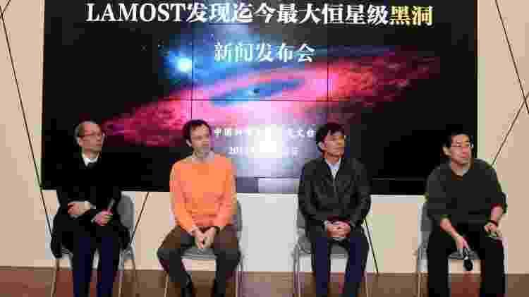 Pesquisadores que contribuíram para a publicação científica respondem a perguntas na apresentação da descoberta no Observatório Astronômico Chinês. - Getty Images