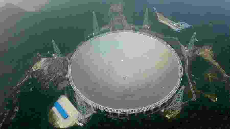 O FAST está localizado na depressão de Dawodang, na província de Guizhou, no sudoeste da China - Getty Images