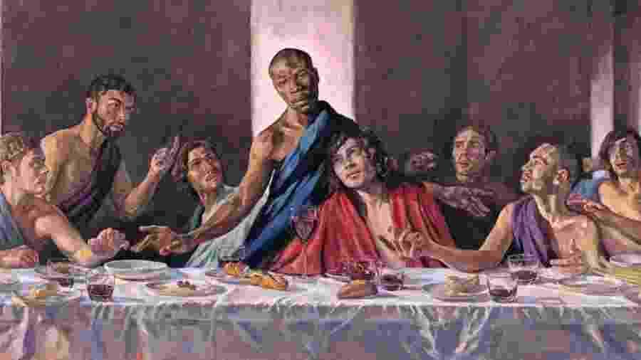 """Catedral de St. Albans, na Inglaterra, vai exibir releitura do quadro """"A Última Ceia"""", de Leonardo da Vinci, com a representação de Jesus como um homem negro - Divulgação/St. Albans Cathedral"""