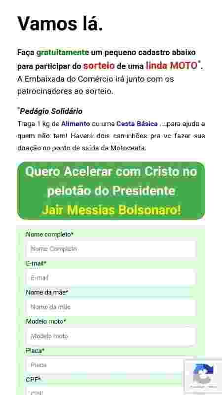 Cadastro de motociata de Bolsonaro - Reprodução - Reprodução