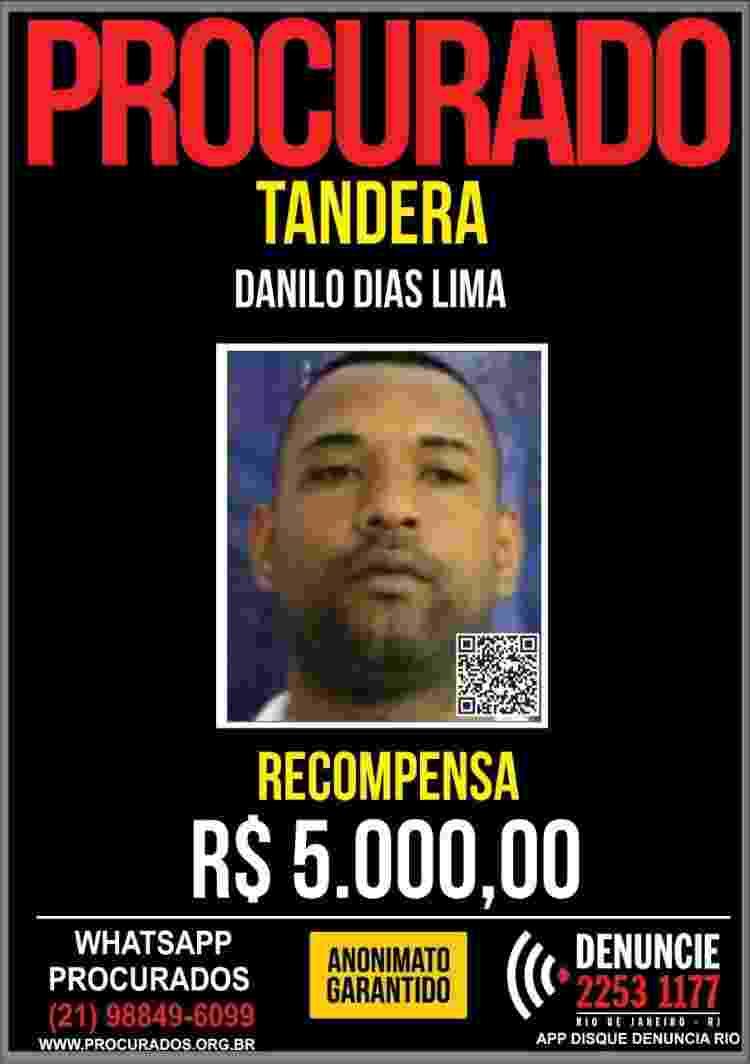 Disque Denúncia aumentou para R$ 5 mil o valor da recompensa por informações de Danilo Dias Lima, o Tandera - Divulgação - Divulgação