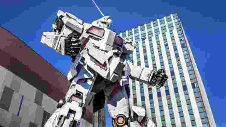 Um robô Gundam gigante no distrito de Odaiba, em Tóquio - Getty Images - Getty Images