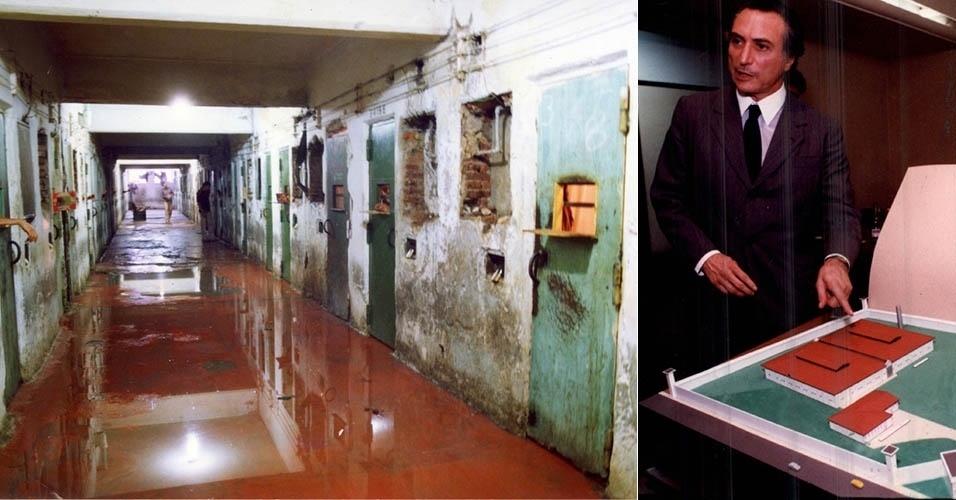 """2.out.1992 - Corredor alagado de sangue no pavilhão da Casa de Detenção de São Paulo, após a intervenção da Polícia Militar do Estado de São Paulo para conter uma rebelião, em São Paulo (SP). A rebelião teve início com uma briga de presos no Pavilhão 9 da Casa de Detenção. A intervenção da Polícia Militar, liderada pelo coronel Ubiratan Guimarães, tinha como justificativa acalmar a rebelião no local. Nenhum dos 68 policiais envolvidos no massacre foi morto. A promotoria do julgamento do coronel Ubiratan classificou a intervenção como sendo """"desastrosa e mal-preparada"""" / 19.mar.1993 - O secretário de Segurança de São Paulo, Michel Temer, mostra a maquete do presídio que será construído pelo governo do Estado"""