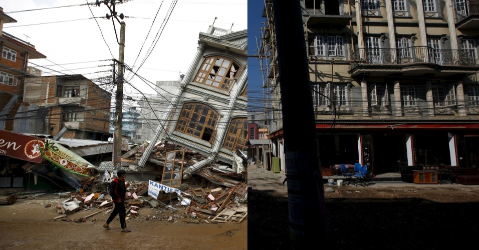 25.abr.2016 - Montagem mostra, à esquerda, um homem passando por um edifício completamente destruído após terremoto, em imagem feita em 1º de maio de 2015. À direita, o mesmo local já sem os destroços, em 17 de fevereiro de 2016. Um terremoto de magnitude 7,8 arrasou o país no dia 25 de abril de 2015, matando mais de 9.000 pessoas. Para muitos nepaleses esse foi um ano perdido, com o país em meio a discussões políticas sobre uma nova Constituição, um bloqueio da fronteira com a Índia por seus oponentes e a incapacidade de gastar US $ 4,1 bilhões doados por países estrangeiros para reconstrução das cidades atingidas pelo sismo