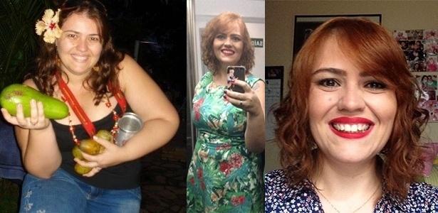 A bióloga Ana Carolina em fotos antes (à esq.) e depois (centro e dir.) de perder peso