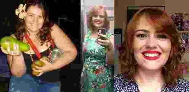 A bióloga Ana Carolina em fotos antes (à esq.) e depois (centro e dir.) de perder peso - Arquivo pessoal