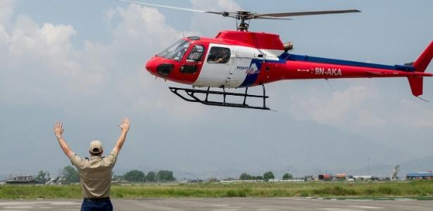 Foto de arquivo mostra um helicóptero da Fishtail Air, em Katmandu, Nepal