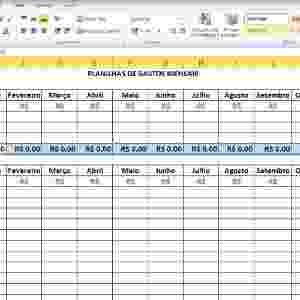 Para que as demais células de ''Total de Receitas'' fiquem com a mesma fórmula, basta clicar na célula B8 (''Total de Receitas'' de janeiro), que já contém a fórmula, e arrastar até a última célula. Outra alternativa é copiar (CTRL+C) a fórmula feita na célula B8 (''Total de Receitas'' de janeiro) e colar (CTRL+V) nos outros meses seguintes de fevereiro a dezembro: das duas formas, o resultado será o mesmo - Reprodução