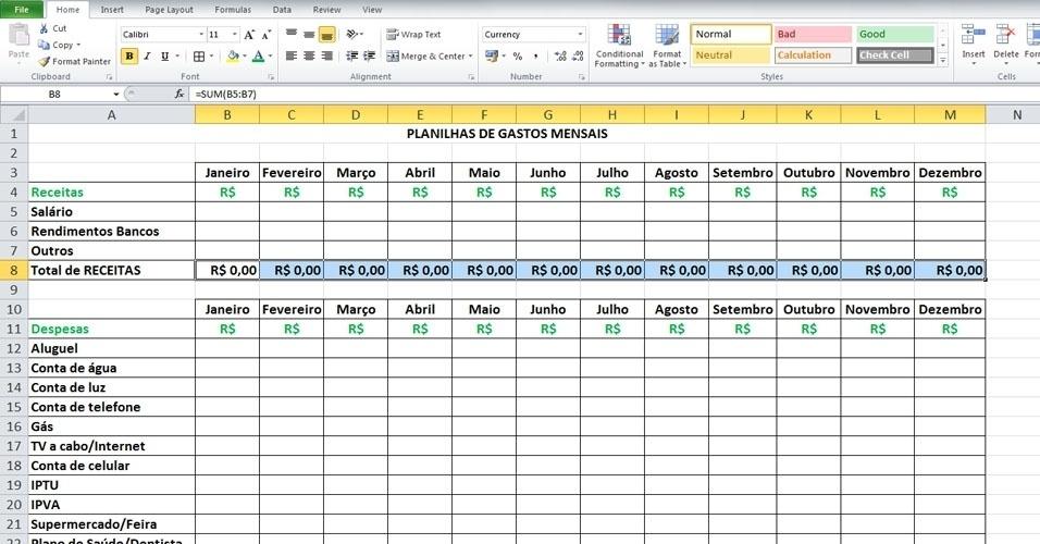Para que as demais células de ''Total de Receitas'' fiquem com a mesma fórmula, basta clicar na célula B8 (''Total de Receitas'' de janeiro), que já contém a fórmula, e arrastar até a última célula. Outra alternativa é copiar (CTRL+C) a fórmula feita na célula B8 (''Total de Receitas'' de janeiro) e colar (CTRL+V) nos outros meses seguintes de fevereiro a dezembro: das duas formas, o resultado será o mesmo