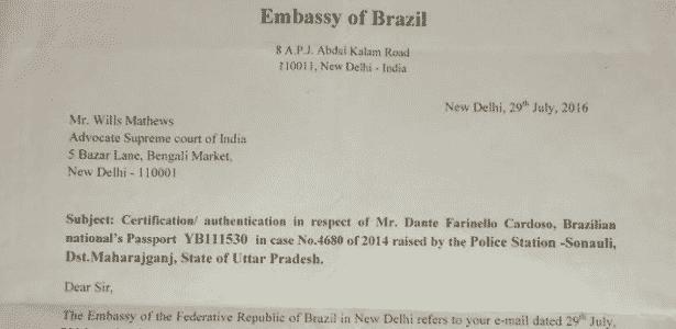 23.nov.2016 - Documento da Embaixada Brasileira em Nova Délhi atesta a autenticidade do passaporte de Dante Cardoso - Reprodução - Reprodução