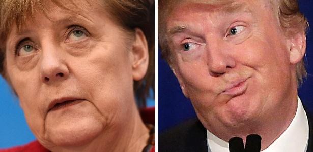 Montagem mostra a chanceler alemã Angela Merkel e o presidente eleito dos EUA Donald Trump