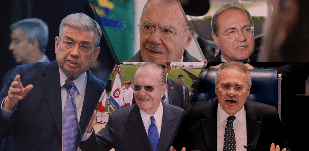 De 2007 até agora, ocuparam a presidência do Senado os peemedebistas: (da esq. para dir.) Garibaldi Alves Filho (RN); José Sarney (AP), que liderou a Casa por dois mandatos (2009-2013); e Renan Calheiros (AL), também duas vezes presidente (2013-2017) - Arte/UOL