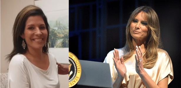 Claudia Sierra (esq.) durante consulta com cirurgião plástico para ficar parecida com Melania Trump (dir.)