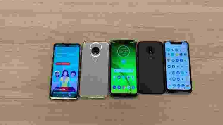 Aparelhos da nova família de smartphones da Motorola: Moto G7, G7 Plus, G7 Play e G7 Power - Lilian Ferreira/UOL