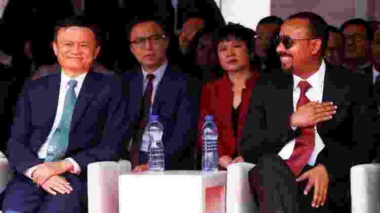 Ma em um evento da Plataforma Mundial do Comércio Eletrônico com o primeiro-ministro da Etiópia Abiy Ahmed no ano passado - Getty Images - Getty Images