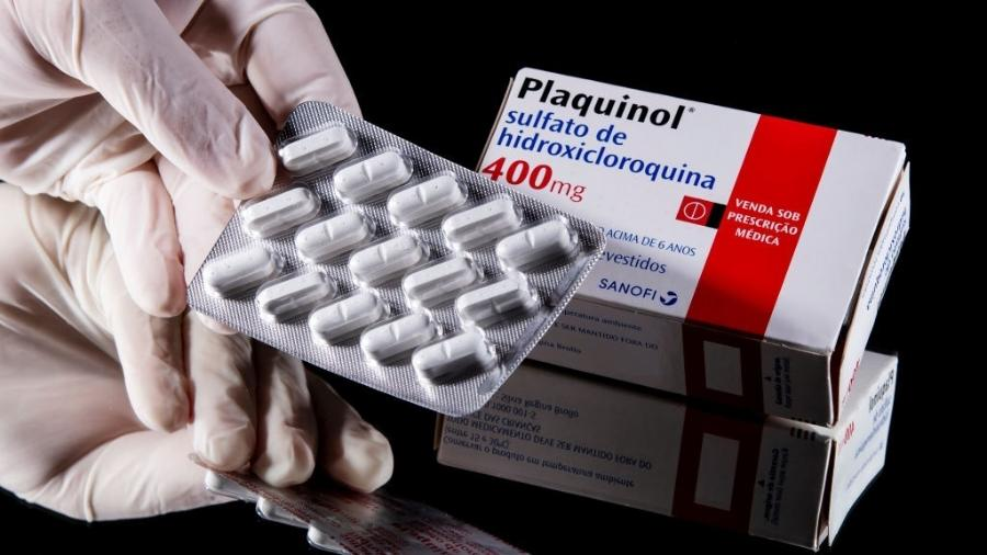 Foto ilustrativa mostra comprimidos de Plaquinol, à base de hidroxicloroquina - Buda Mendes/Getty Images